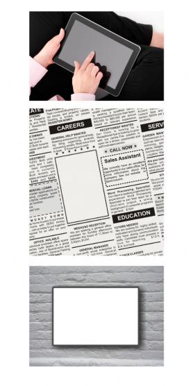 Verschiedene Werbemedien, die genutzt werden können sind Printwerbung, Onlinewerbung oder Außenwerbung.